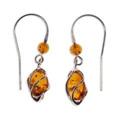 Boucles d'oreilles ambre et argent Volière