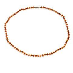 Collier ambre petites perles couleur cognac 53 cm