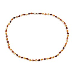 Collier ambre petites olives  multicolores 53 cm