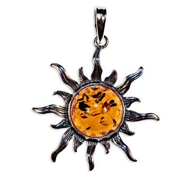 Pendentif ambre et argent soleil