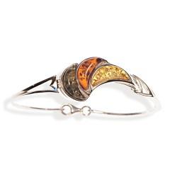 Bracelet ambre et argent Quartiers d'Orange multicolore
