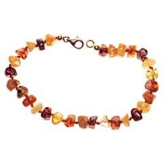 Bracelet ambre taille pavés multicolore