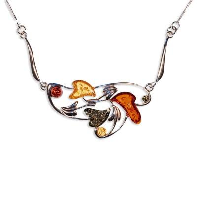Collier ambre et argent farandole de cœurs multicolores