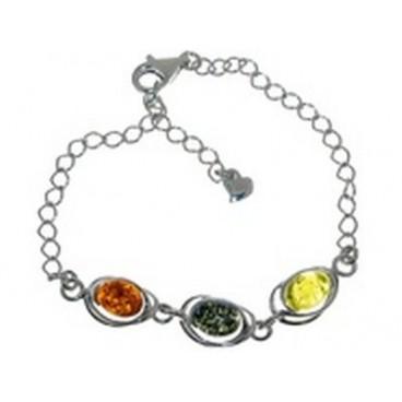 Bracelet ambre et argent Dathan