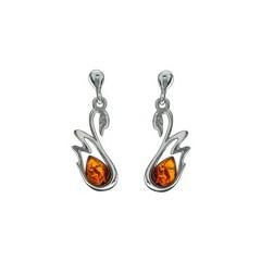Boucles d'oreilles ambre et argent Cygne